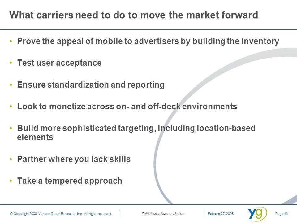 What carriers need to do to move the market forward