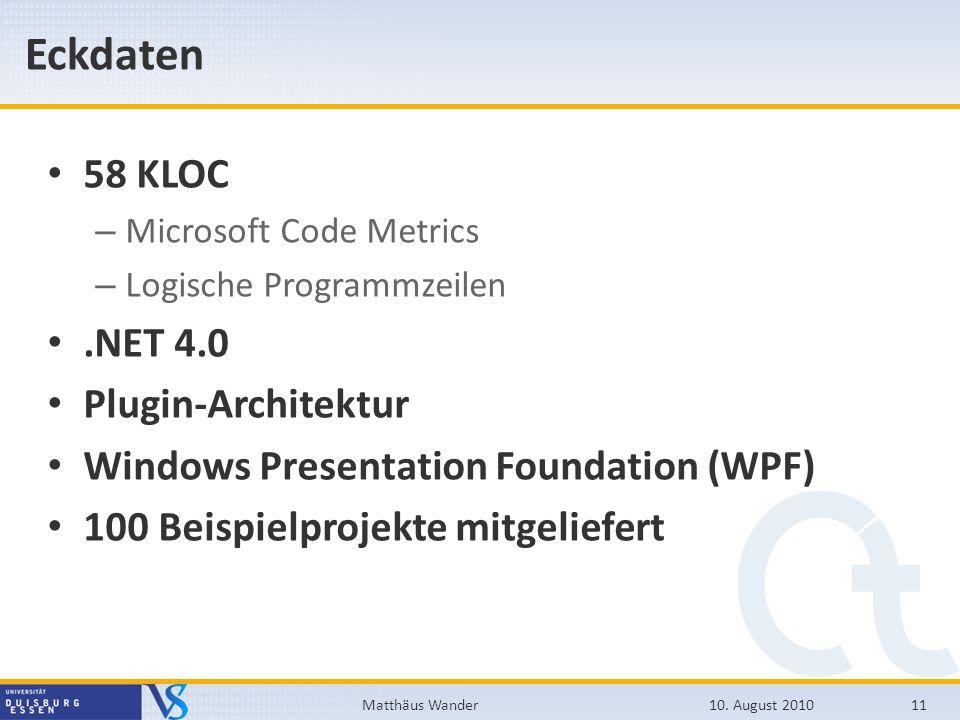 Eckdaten 58 KLOC .NET 4.0 Plugin-Architektur