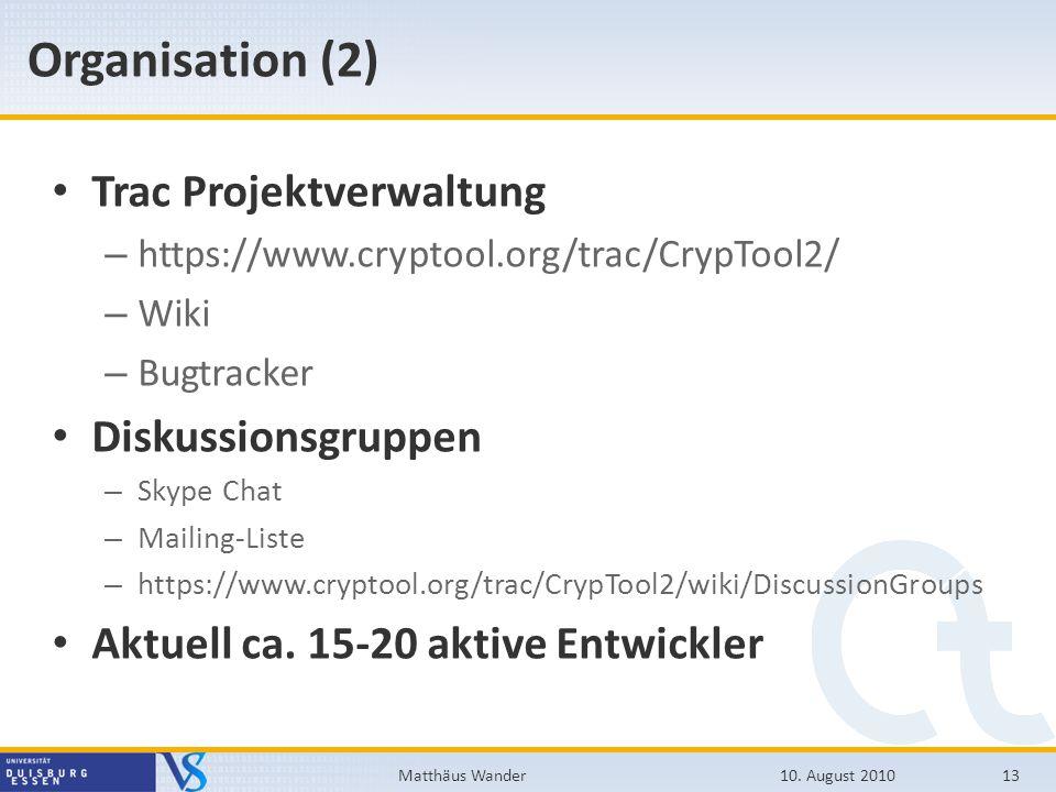 Organisation (2) Trac Projektverwaltung Diskussionsgruppen