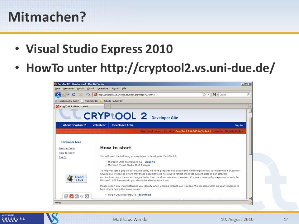 Mitmachen Visual Studio Express 2010