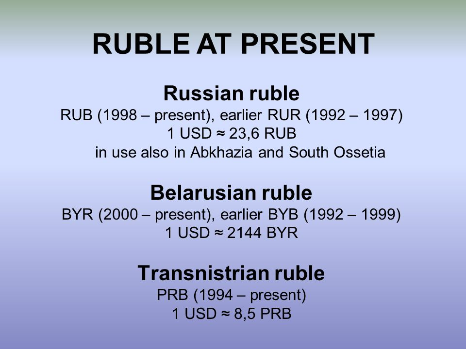RUBLE AT PRESENT Russian ruble Belarusian ruble Transnistrian ruble