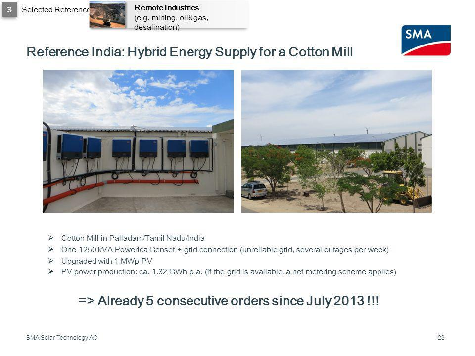 Reference India: Hybrid Energy Supply for a Cotton Mill