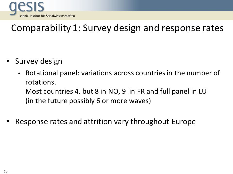 Comparability 1: Survey design and response rates