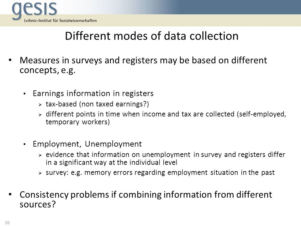 Different modes of data collection
