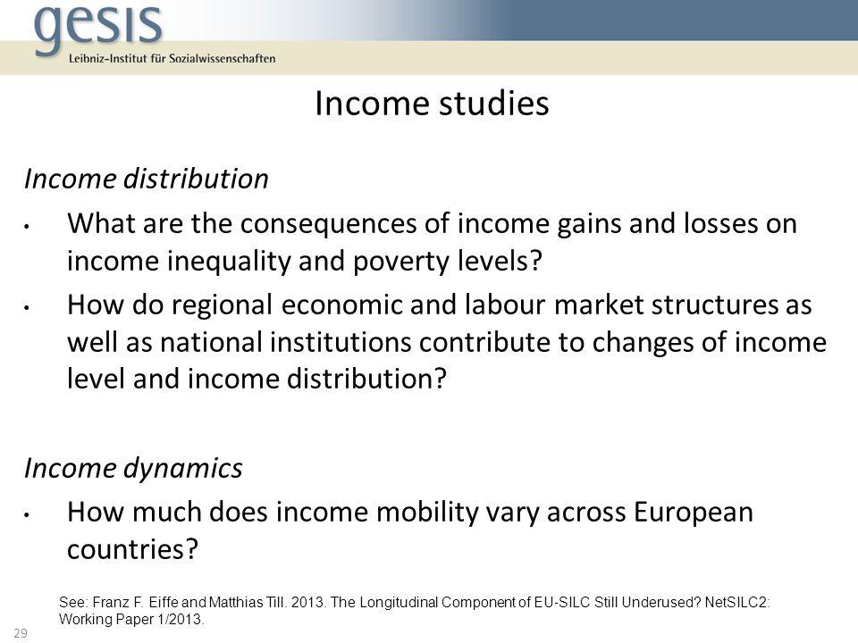 Income studies Income distribution
