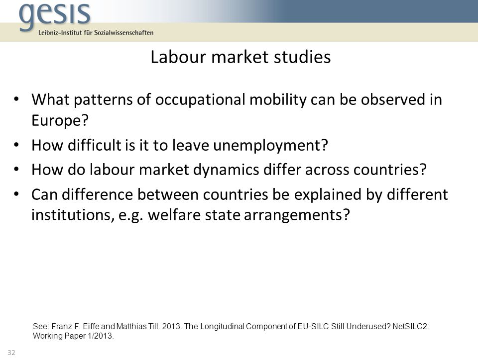 Labour market studies What patterns of occupational mobility can be observed in Europe How difficult is it to leave unemployment