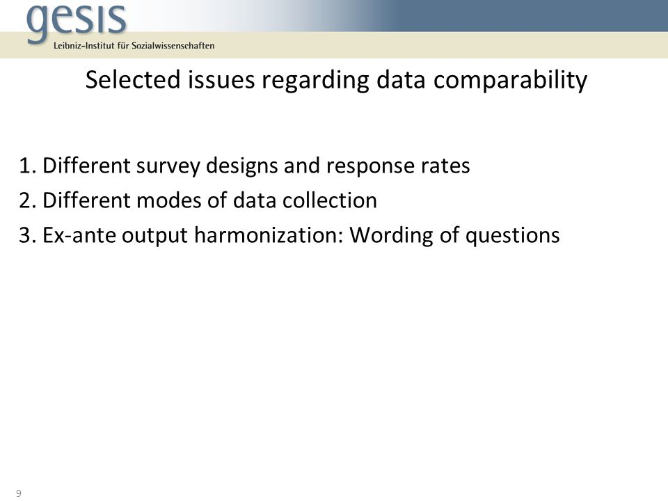 Selected issues regarding data comparability