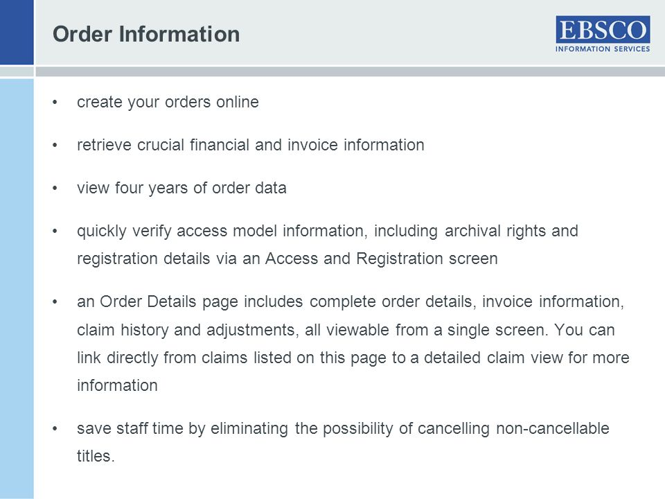 Order Information create your orders online