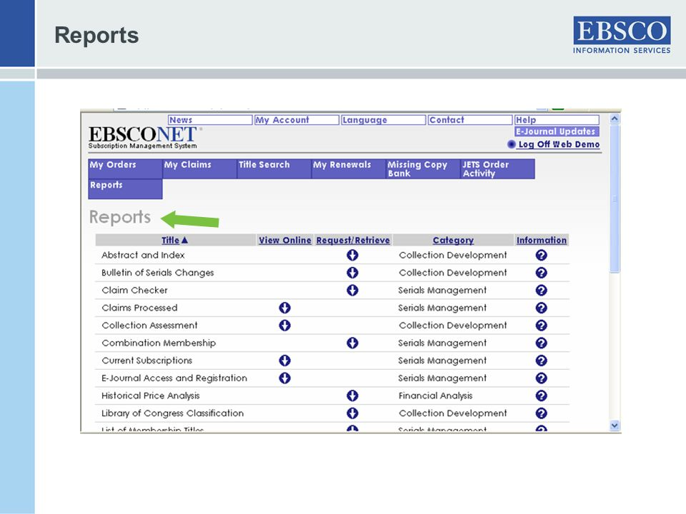 Reports Ability to select reports at account level for any account a user is authorized to access.