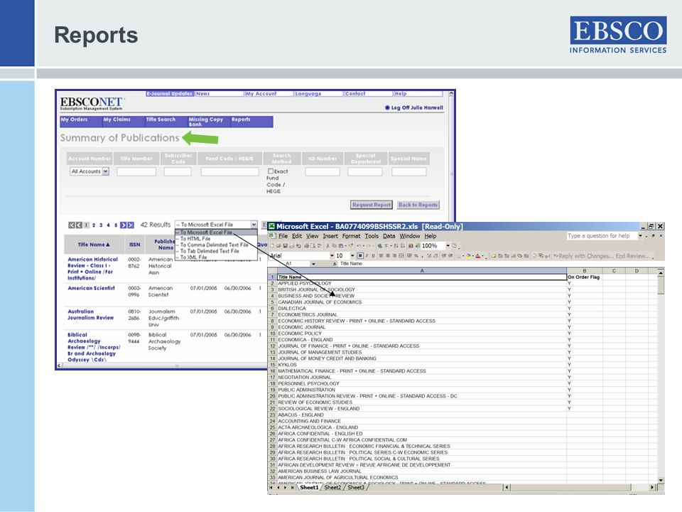Reports Summary of Publication allows further sorting options for results.