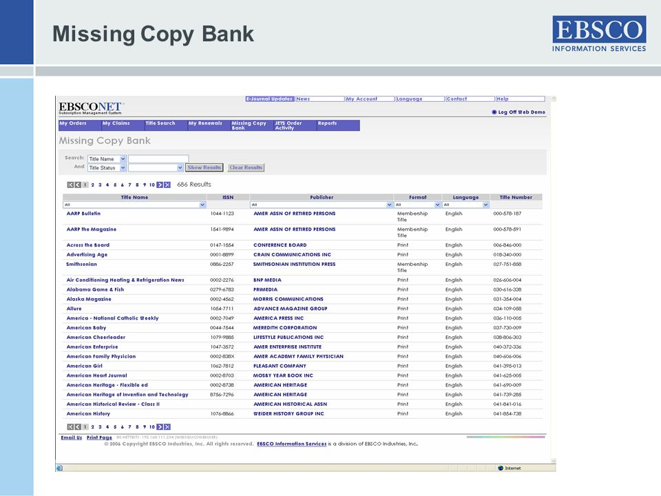 Missing Copy Bank -multiple search options