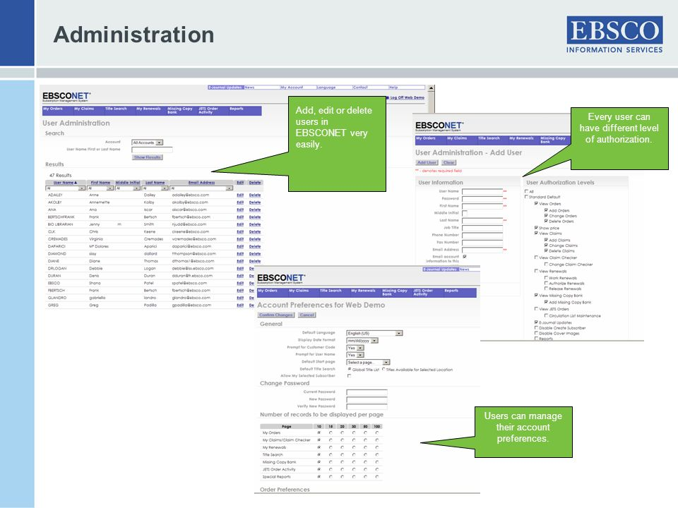 Administration Add, edit or delete users in EBSCONET very easily.