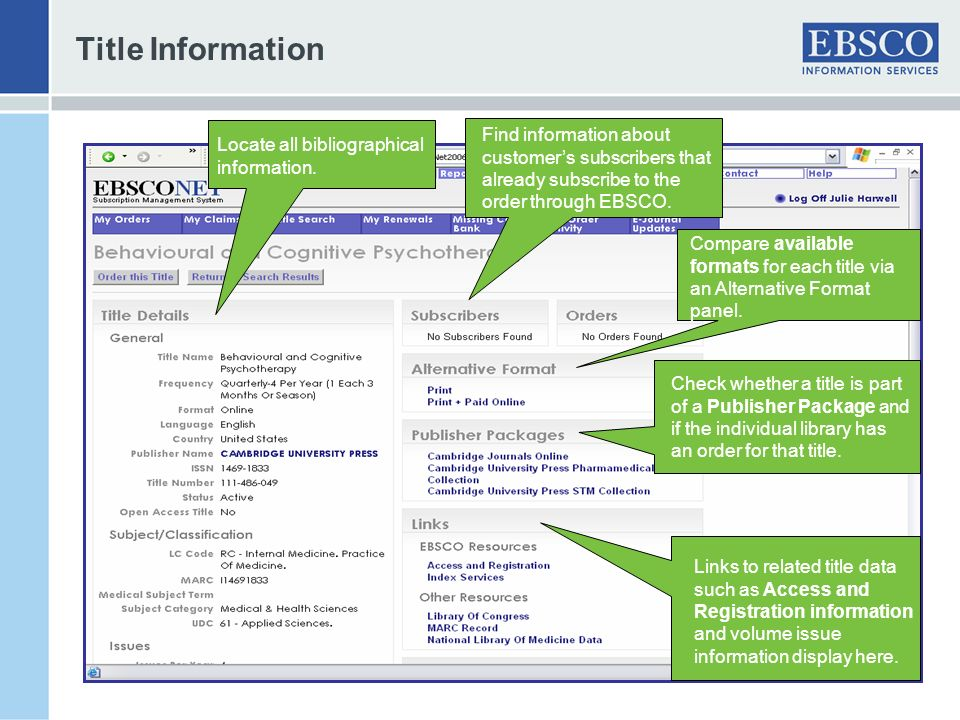 Title Information Find information about customer's subscribers that already subscribe to the order through EBSCO.