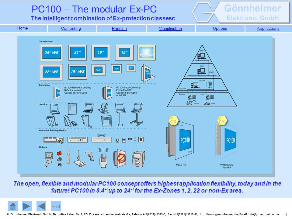 The open, flexible and modular PC100 concept offers highest application flexibility, today and in the future! PC100 in 8.4 up to 24 for the Ex-Zones 1, 2, 22 or non-Ex area.