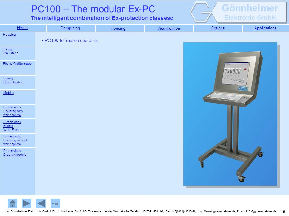 Exit PC100 for mobile operation. Housing Fixing Wall static