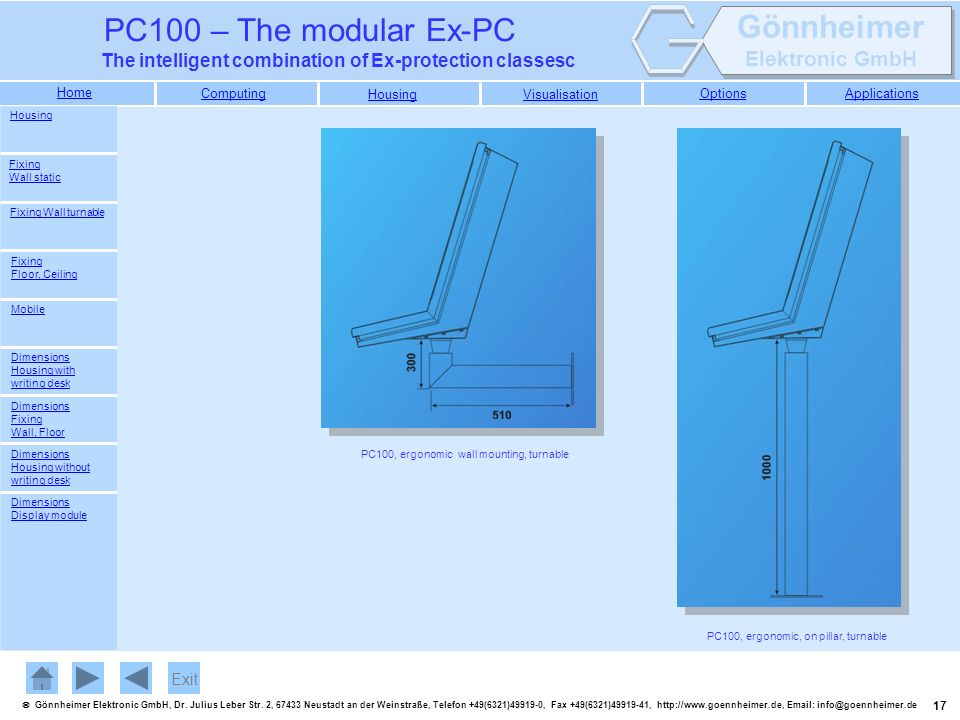 Exit Housing Fixing Wall static Fixing Wall turnable