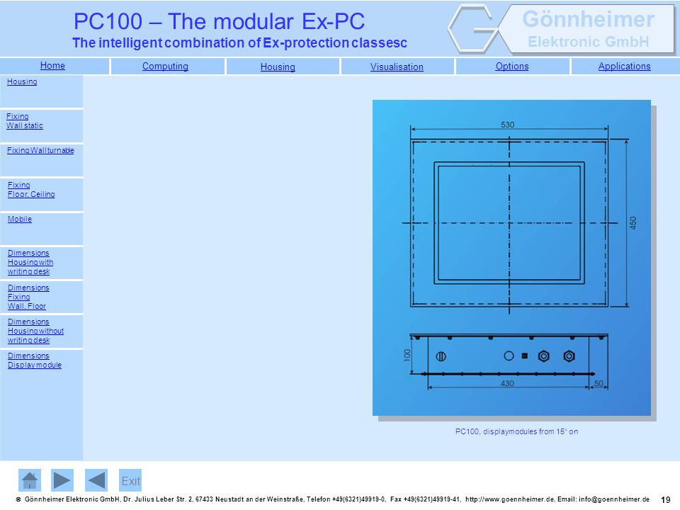 PC100, displaymodules from 15 on