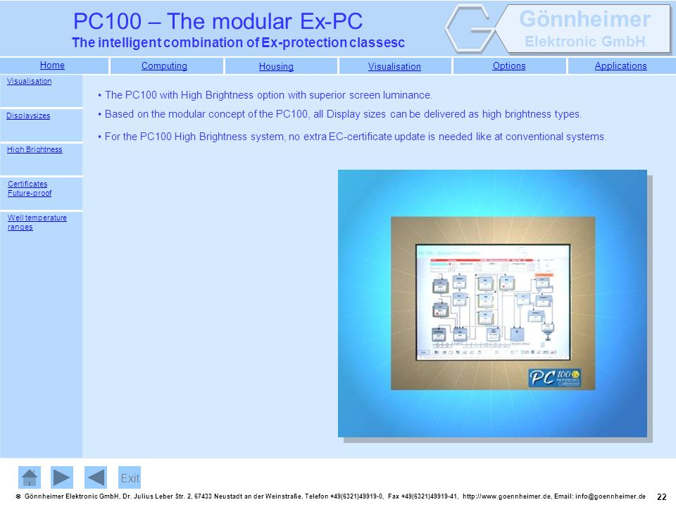 Visualisation The PC100 with High Brightness option with superior screen luminance. Displaysizes.