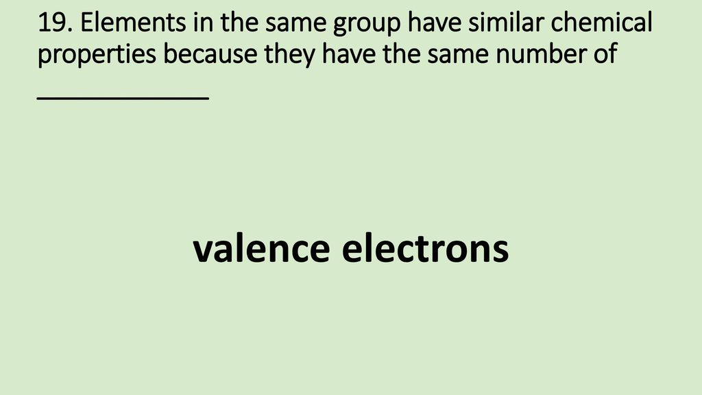 19. Elements in the same group have similar chemical properties because they have the same number of ____________