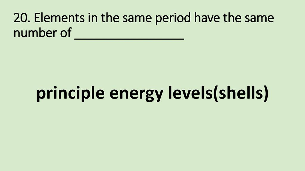 principle energy levels(shells)