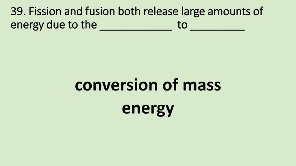 conversion of mass energy