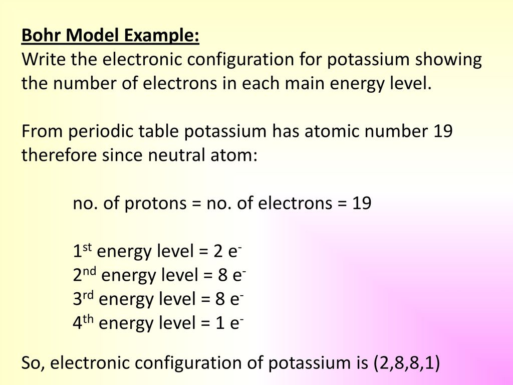 bohr model example write the electronic configuration for potassium showing the number of electrons in - Periodic Table Atomic Number 19