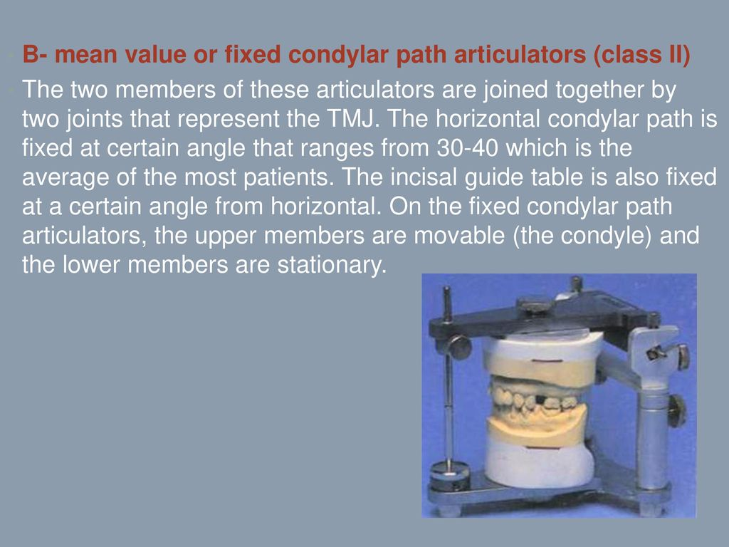 Articulators dr anai m ppt download b mean value or fixed condylar path articulators class ii ccuart Images