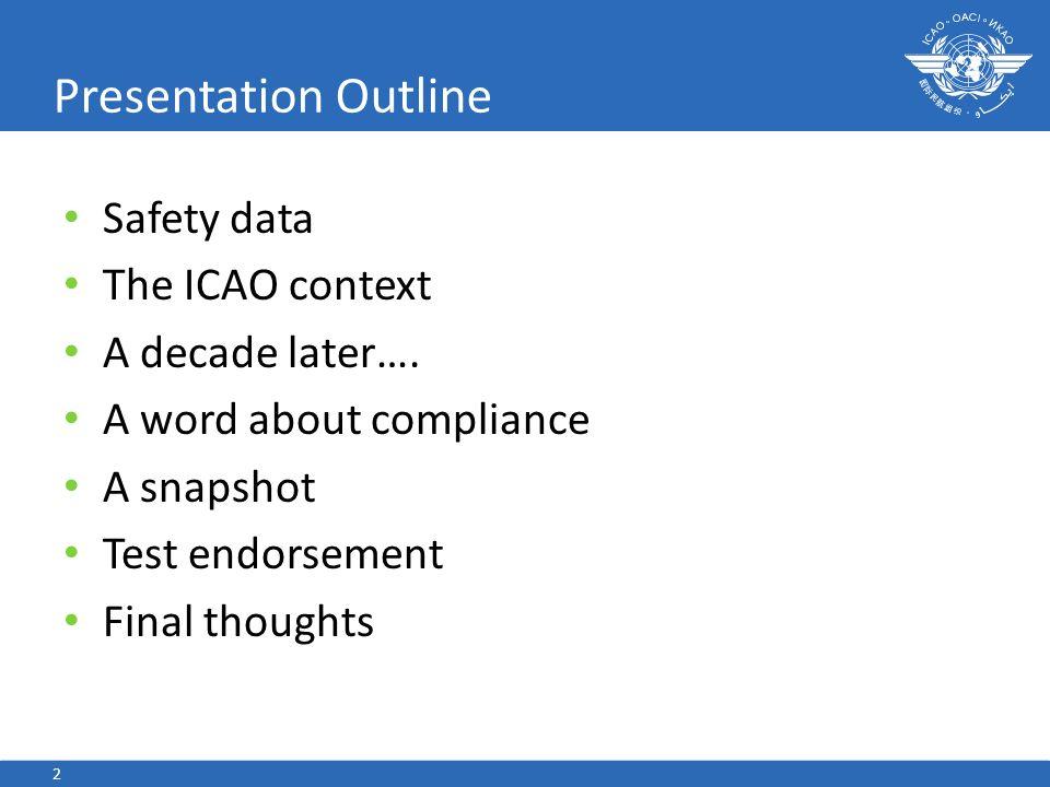 Presentation Outline Safety data The ICAO context A decade later….