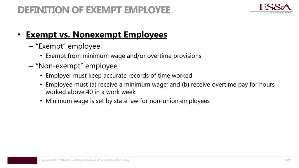 DEFINITION OF EXEMPT EMPLOYEE