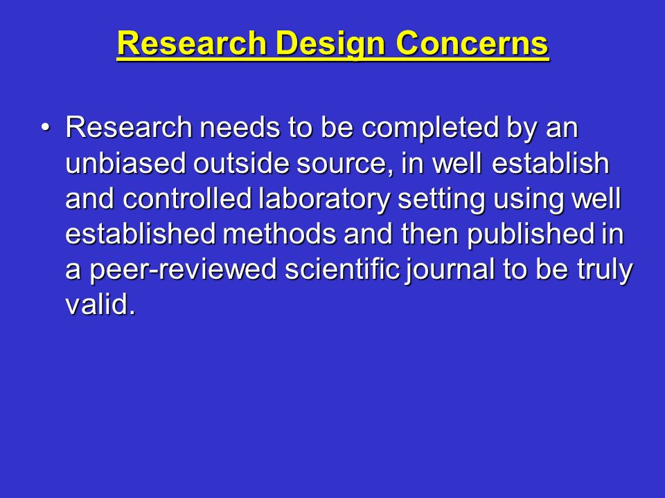 Research Design Concerns