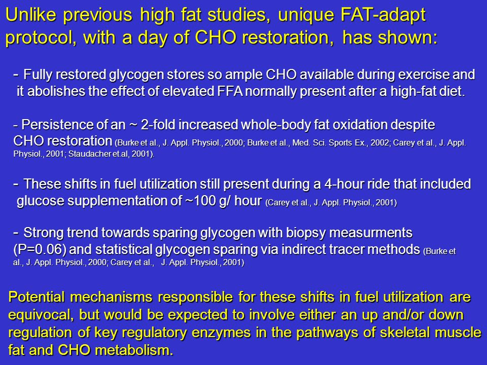 Unlike previous high fat studies, unique FAT-adapt