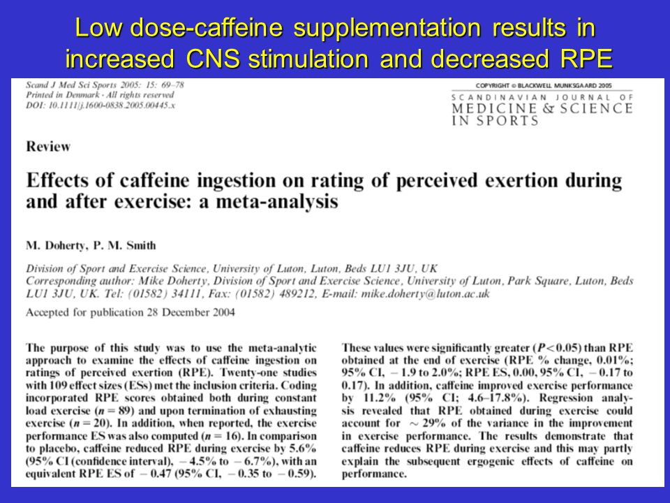 Low dose-caffeine supplementation results in