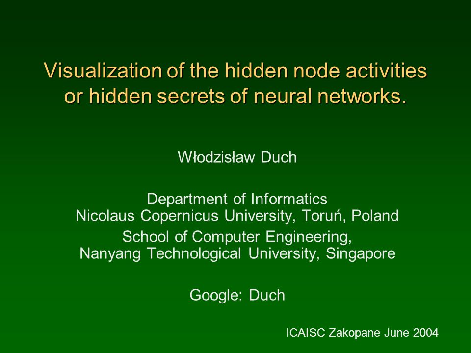 Visualization of the hidden node activities or hidden secrets of neural networks.