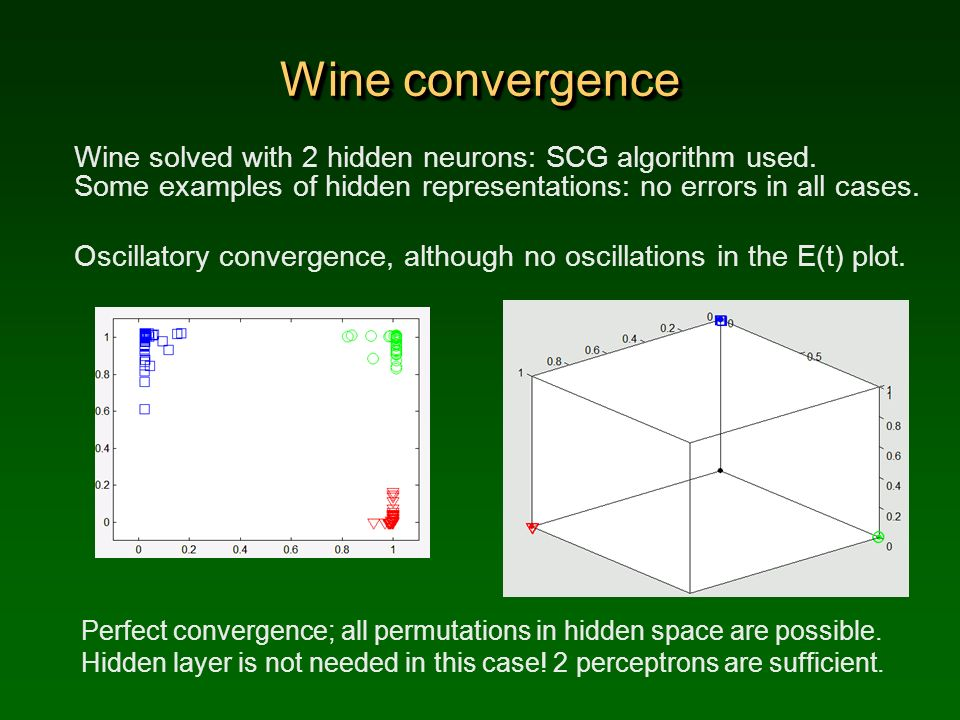 Wine convergence Wine solved with 2 hidden neurons: SCG algorithm used. Some examples of hidden representations: no errors in all cases.