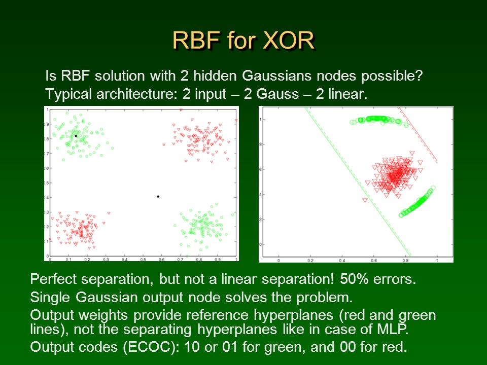 RBF for XOR Is RBF solution with 2 hidden Gaussians nodes possible