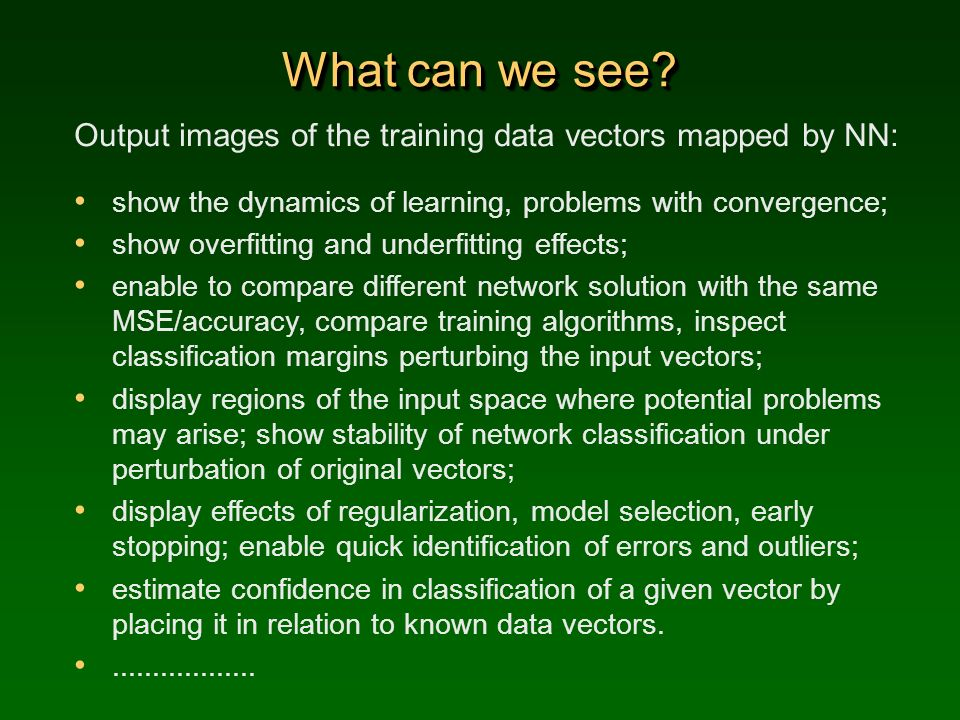 What can we see Output images of the training data vectors mapped by NN: show the dynamics of learning, problems with convergence;