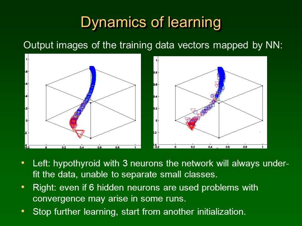 Dynamics of learning Output images of the training data vectors mapped by NN: