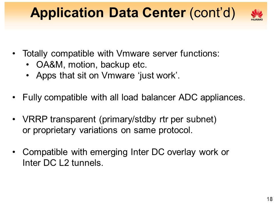 Application Data Center (cont'd)