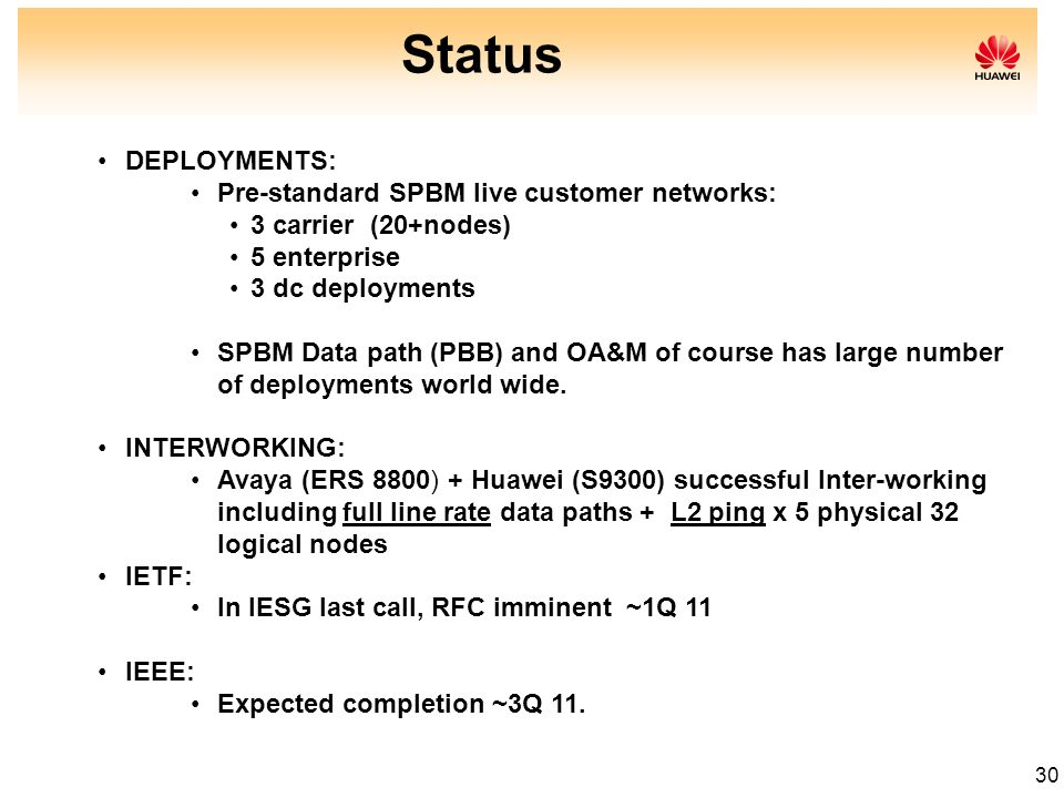 Status DEPLOYMENTS: Pre-standard SPBM live customer networks: