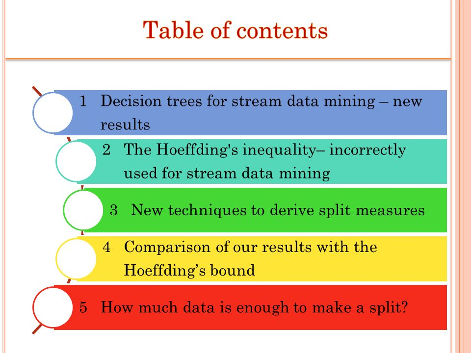 Table of contents 1 Decision trees for stream data mining – new