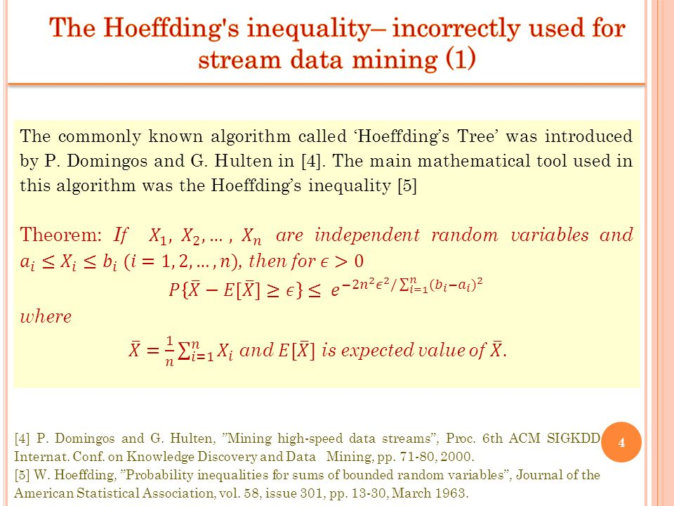 The Hoeffding s inequality– incorrectly used for stream data mining (1)