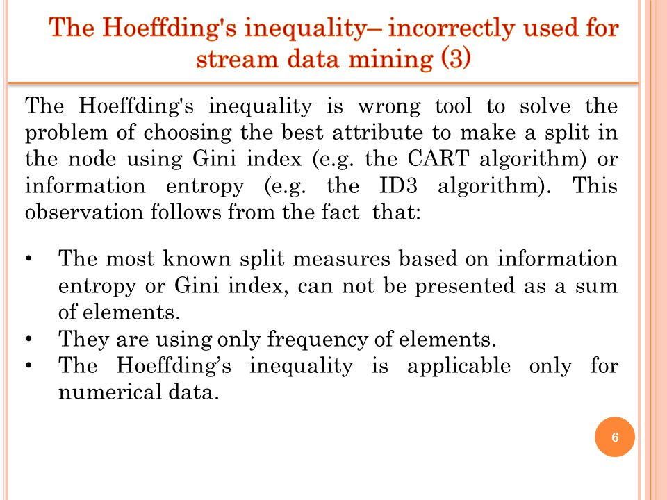 The Hoeffding s inequality– incorrectly used for stream data mining (3)