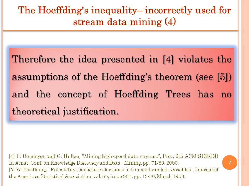 The Hoeffding s inequality– incorrectly used for stream data mining (4)