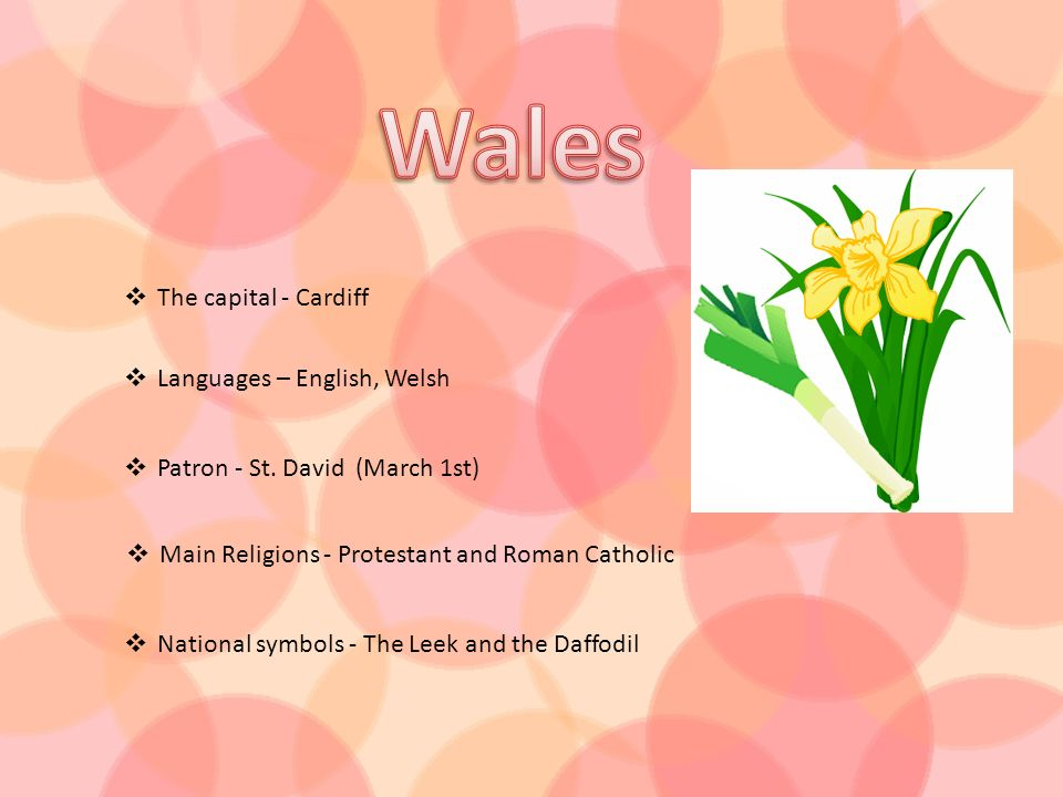 Wales The capital - Cardiff Languages – English, Welsh