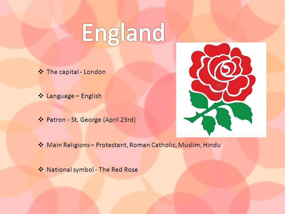 England The capital - London Language – English