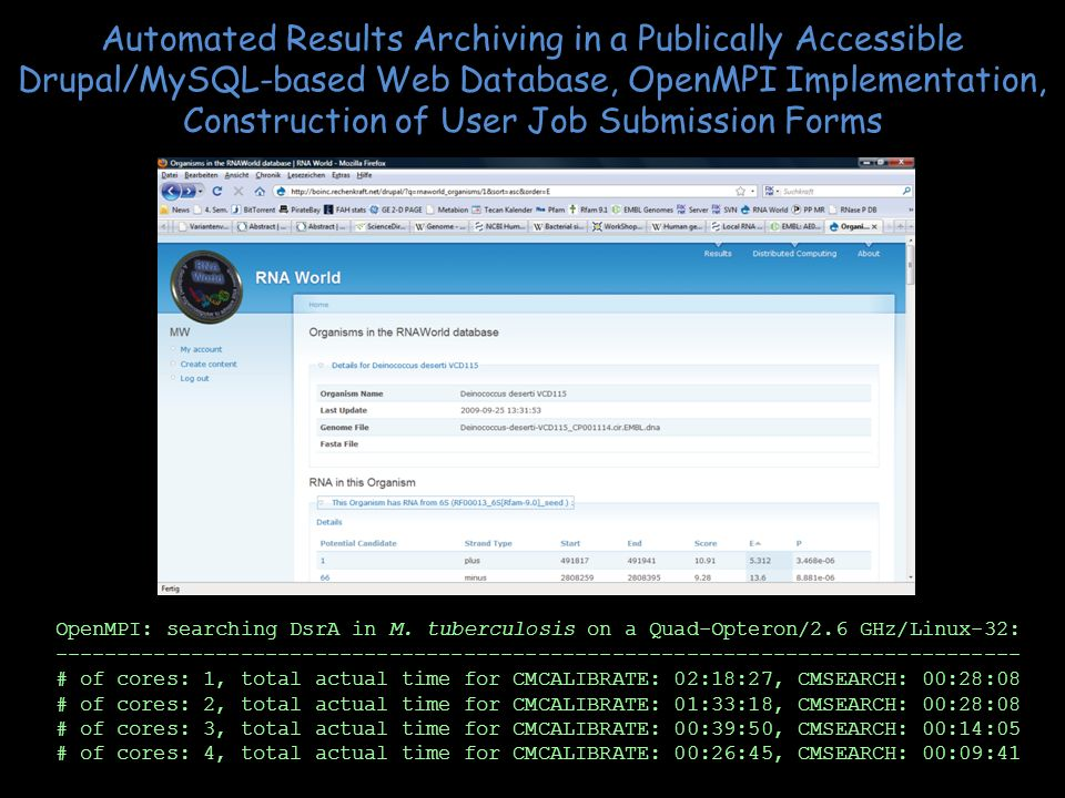 Automated Results Archiving in a Publically Accessible Drupal/MySQL-based Web Database, OpenMPI Implementation, Construction of User Job Submission Forms