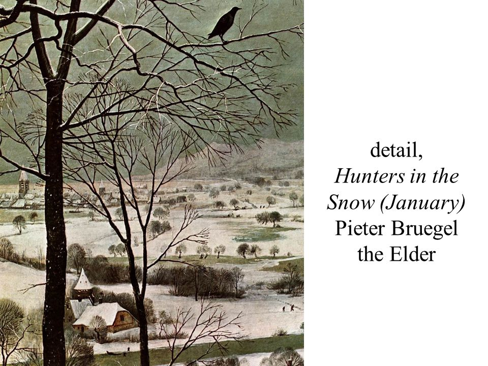 detail, Hunters in the Snow (January) Pieter Bruegel the Elder