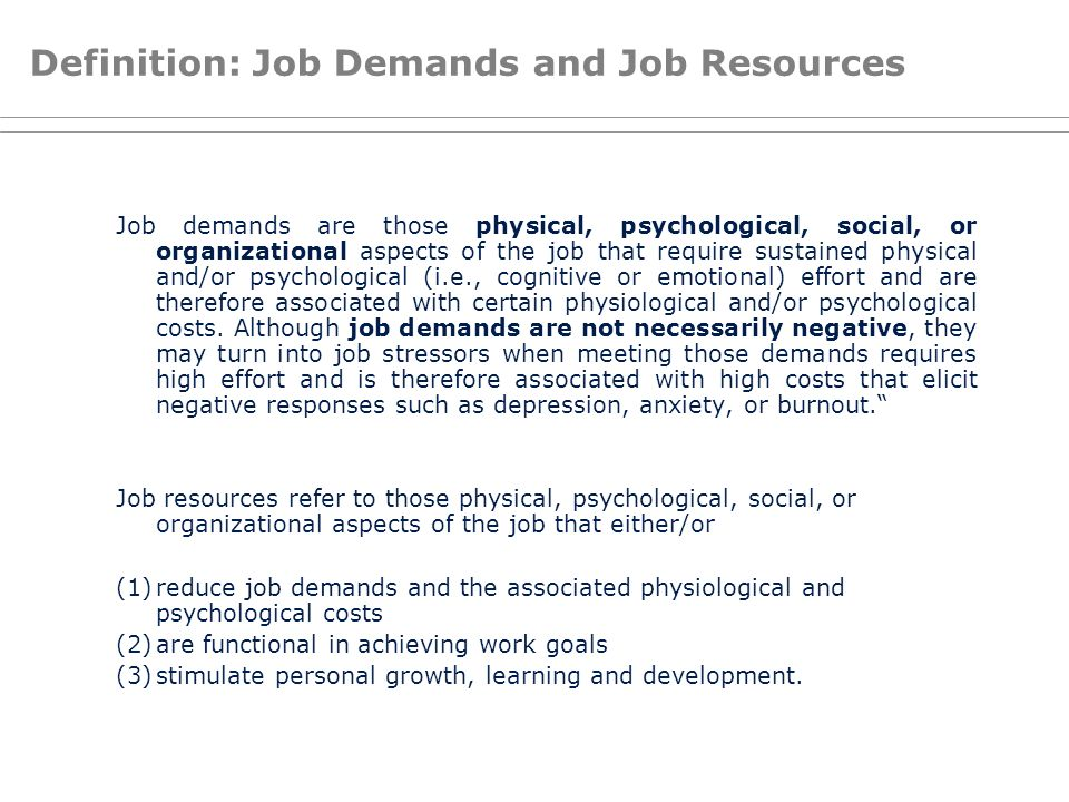 Definition: Job Demands and Job Resources