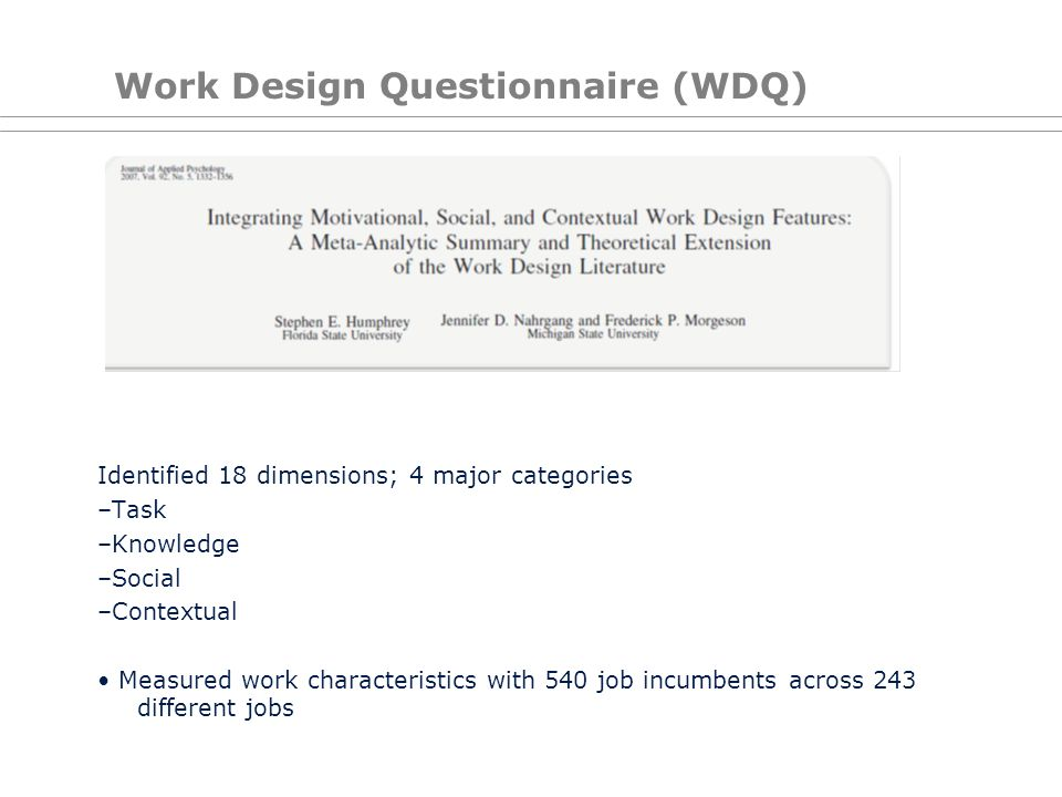 Work Design Questionnaire (WDQ)