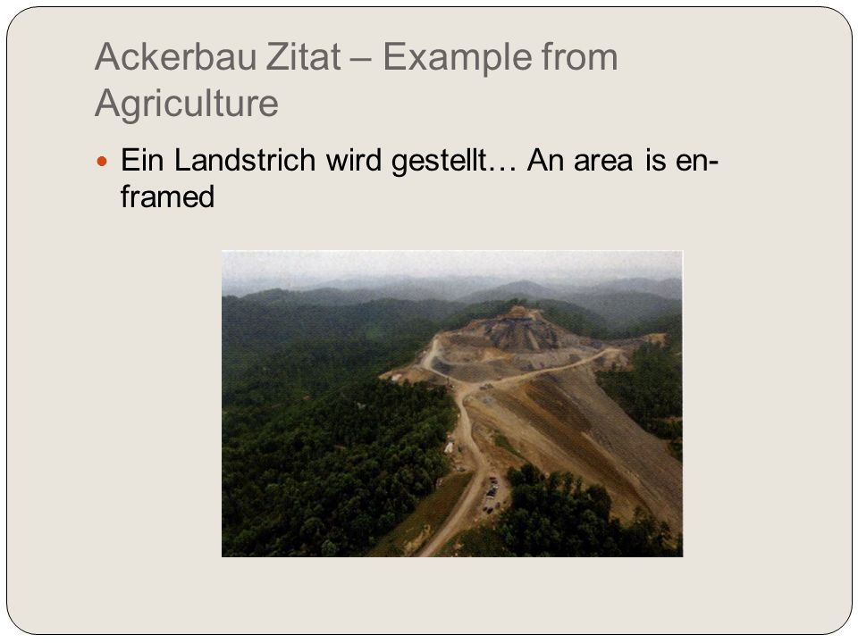 Ackerbau Zitat – Example from Agriculture